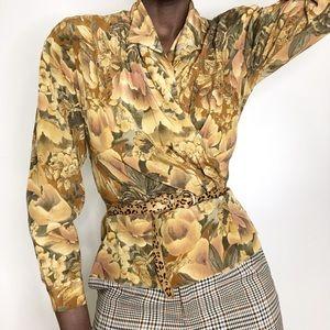 VINTAGE |  Pure Silk Fall Floral Peplum Blouse
